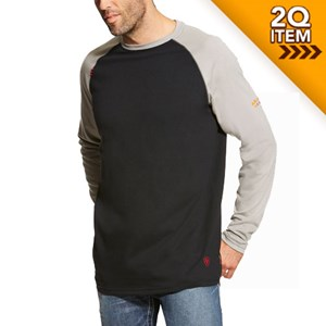 Ariat FR Baseball Tee in Black/Gray