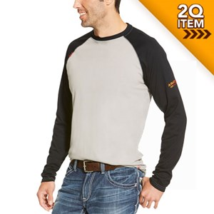 Ariat FR Baseball Tee in Gray/Black