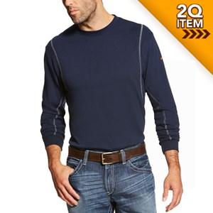 FR AC Crew Long Sleeve Shirt in Navy