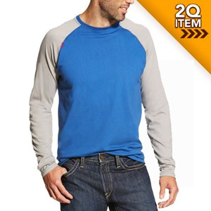 Ariat FR Baseball Tee in Cobalt/Light Gray