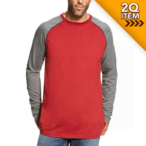 Ariat FR Baseball Tee in Red/Dark Gray