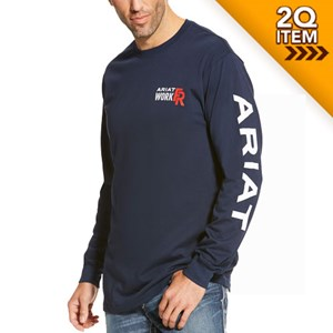 Ariat FR Logo Long Sleeve Tee in Navy