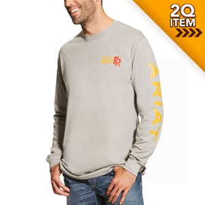 Ariat FR Logo Long Sleeve Tee in Silver Fox