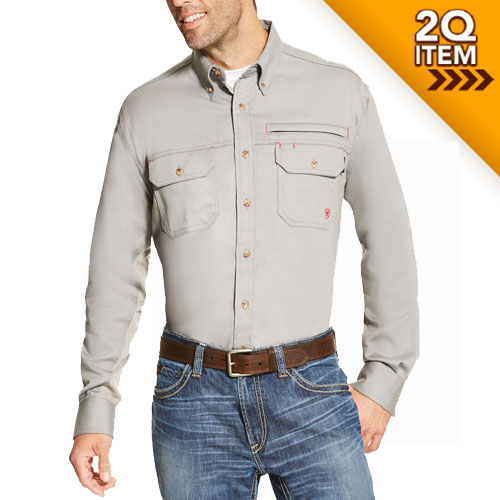Ariat FR Solid Vent Shirt in Silver Fox