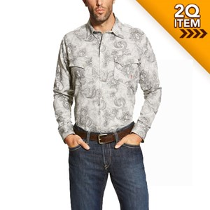 Ariat FR Milo Snap Shirt in Gray Paisley