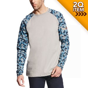 Ariat FR Baseball Tee in Silver Fox/Digi Camo