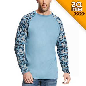 Ariat FR Baseball Tee in Steel Blue/Digi Camo