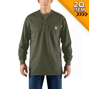 Long-Sleeve Carhartt Force FR Henley in Moss