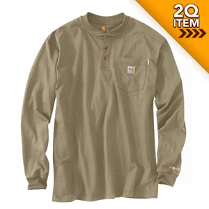 Carhartt Flame Resistant Cotton Henley in Khaki