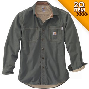 Carhartt FR Canvas Shirt Jacket in Moss