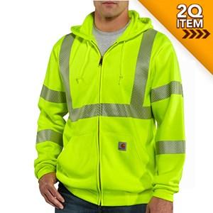 Hi-Vis Class 3 Zip-Front Sweatshirt in Lime