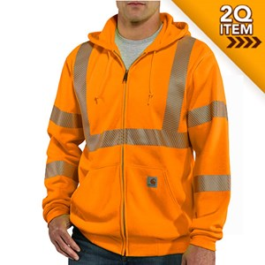 Hi-Vis Class 3 Zip-Front Sweatshirt in Orange