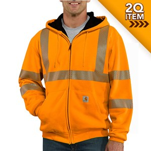 Carhartt Class 3 Hi-Vis Zip-Front Thermal-Lined Sweatshirt in Bright Orange