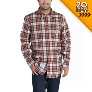 Carhartt Flame Resistant Plaid Shirt in Dark Crimson/Black
