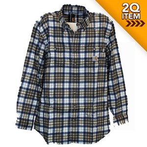 Carhartt Flame Resistant Plaid Shirt in Mid Brown/Navy