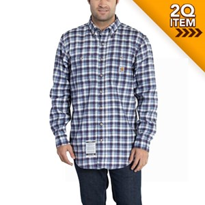Carhartt Flame Resistant Plaid Shirt in Navy