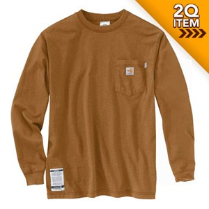 FR Force Cotton LS T Shirt in Brown