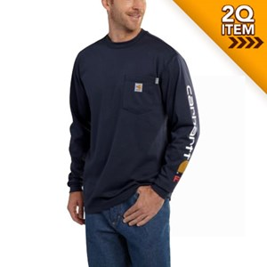 FR Force Cotton Graphic LS T Shirt - Navy