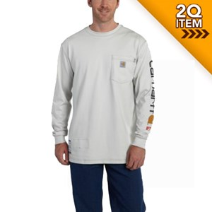 FR Force Cotton Graphic LS T Shirt - Gray