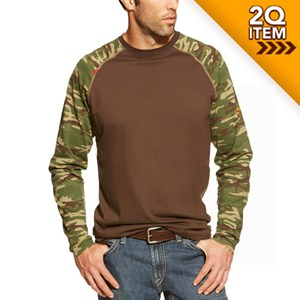FR Long Sleeve Work Camo Baseball Tee in Coffee Bean