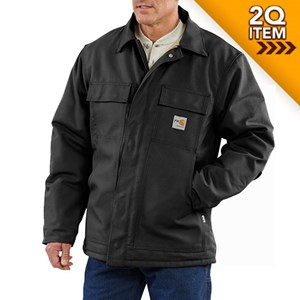 Carhartt FR Duck Traditional Quilt-Lined Coat in Black