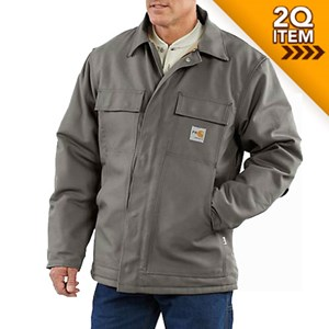 Carhartt FR Duck Traditional Quilt-Lined Coat in Steel