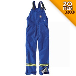 Carhartt FR Striped Quilt-Lined Duck Bib Overall in Royal Blue