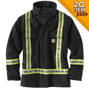 Carhartt FR Striped Duck Quilt-Lined Coat in Black