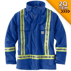 Carhartt FR Striped Duck Quilt-Lined Coat in Royal Blue