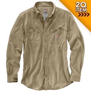 Carhartt FR Force Cotton Hybrid Shirt in Khaki