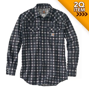 Carhartt FR Snap-Front Plaid Shirt in Steel