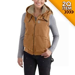 Ladies Weathered Duck Vest in Carhartt Brown