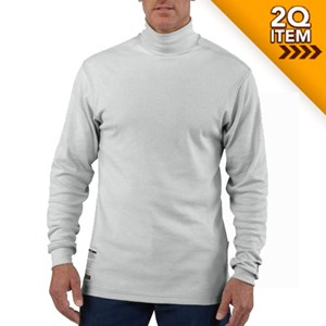 Flame Resistant Long Sleeve Mock Turtleneck in Light Gray