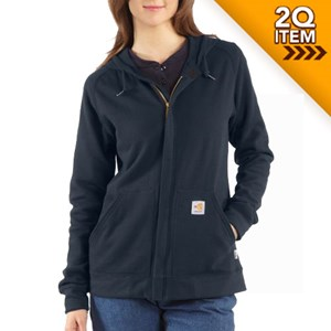 Women's Flame Resistant Zip Front Hooded Sweatshirt in Navy