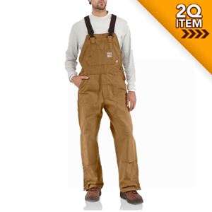 Unlined Flame Resistant Duck Bib Overall in Carhartt Brown