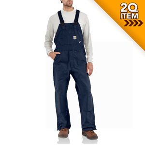 Unlined Flame Resistant Duck Bib Overall in Navy