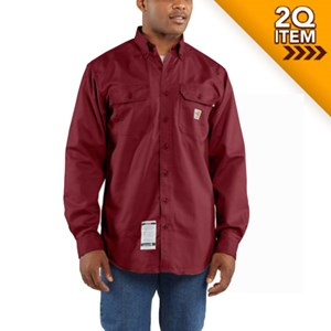 Carhartt Flame Resistant Twill Shirt in Dark Crimson