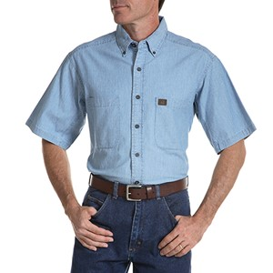 Short-Sleeve Chambray Work Shirt