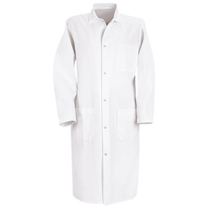 Polyester/Cotton Gripper-Front Butcher Coat with External Pockets