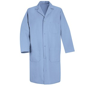 Men's Four-Gripper Closure Lab Coat in Light Blue