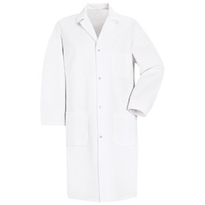 Men's Four-Gripper Closure Lab Coat in White