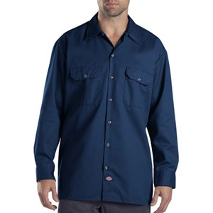 Long Sleeve Dickies Work Shirt in Dark Navy