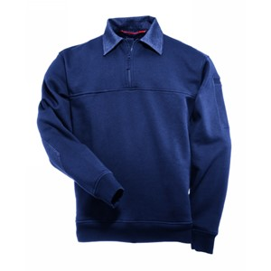 Quarter-Zip Front Job Shirt with Denim Collar