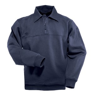 Quarter-Zip Front Job Shirt with Canvas Collar