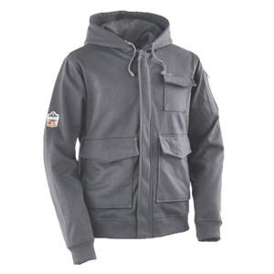 FR Zip-Front Hooded Fleece Sweatshirt in Gray