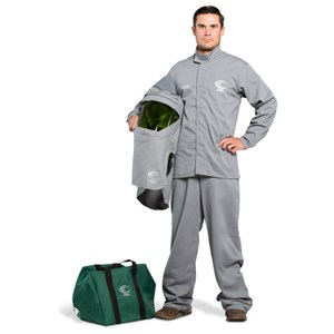 OEL 12 cal/cm² Flame Resistant Shield Jacket and Bib Overalls Arc Flash Kit with a Hood