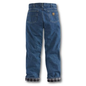 Relaxed Fit Straight Leg Flannel Jean