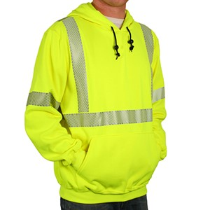 FR Hi-Vis Hooded Pullover Sweatshirt with Waffle Lining