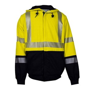 Hi-Vis Deluxe Hybrid Hooded Sweatshirt with Liner
