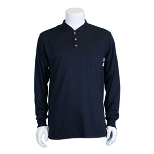 FR Long Sleeve Henley in Pro-C 100% FR Cotton